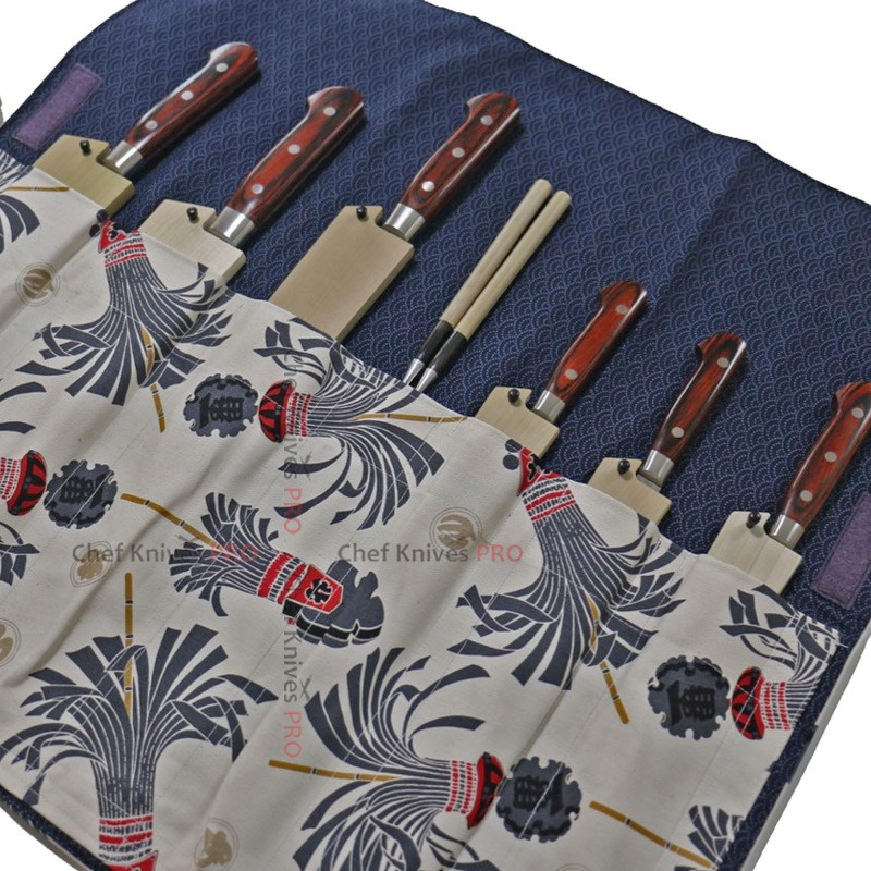 Japanese Style Knife Roll SHIROHIKESHI-URA-KON 7 Pockets